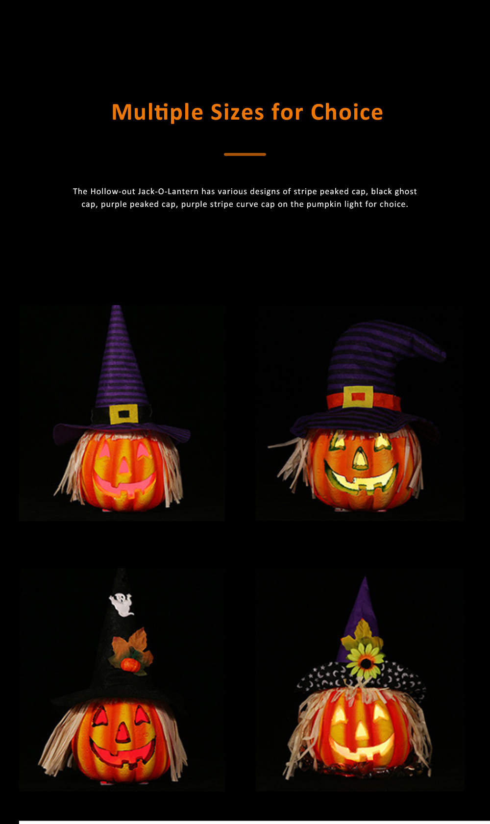 Hollow-out Jack-O-Lantern for Halloween Haunted House Foam-made Battery Driven Pumpkin Light Smiling Face Pumpkin Lamp 4