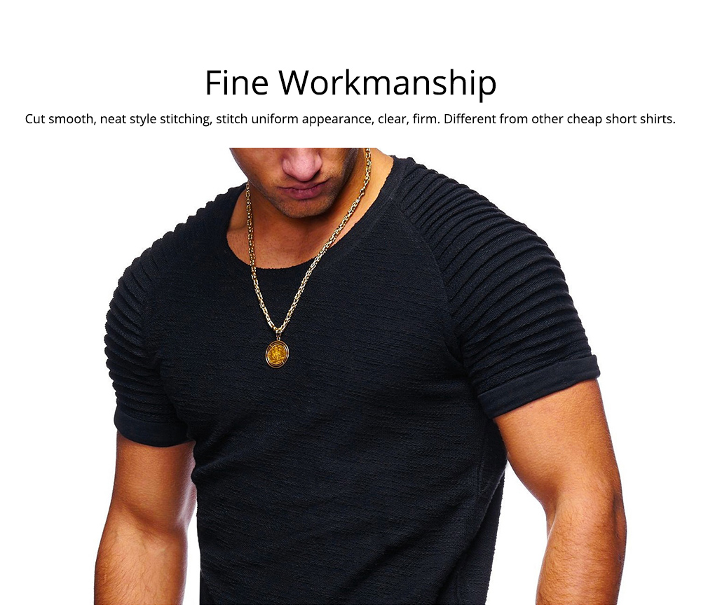 Men's Pure Color T-shirt Wrinkled Short Sleeve Shirt Fashion Stretch Sports Quick-dry T-Shirt 4