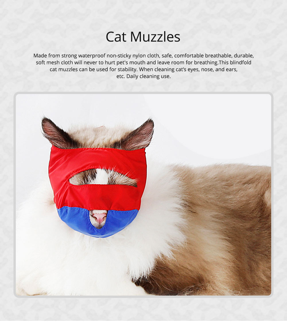 Waterproof Cat Muzzles Non-sticky Nylon Face Mask Pet Grooming Tools for Preventing Scratches Anti-biting 0
