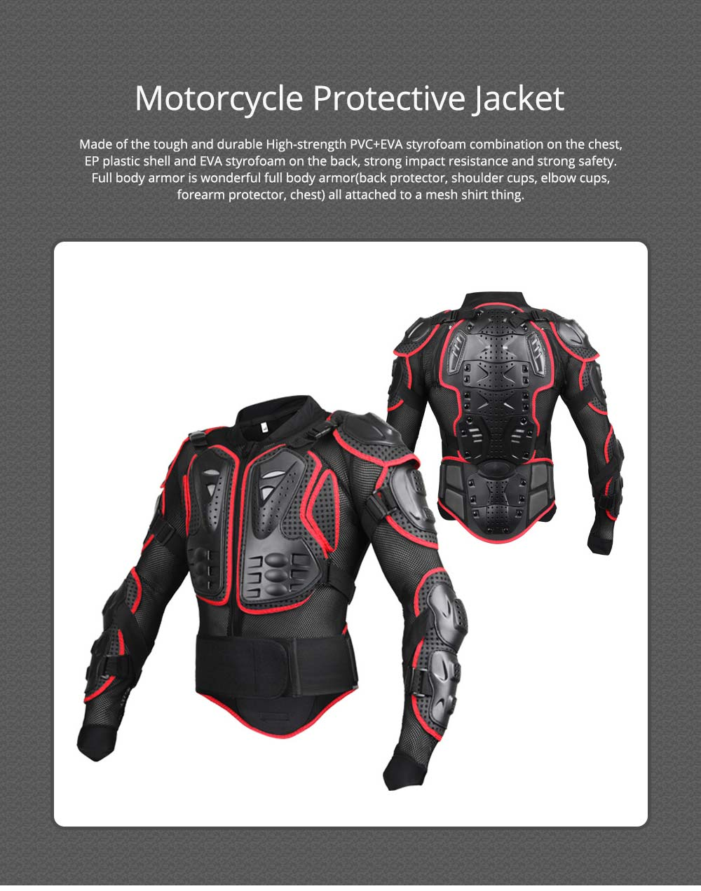 Motorcycle Protective Jacket Full Body Motorcycle Armor Protector Uniform, Long Sleeve Racing Amour for Cross-country Cycling Outdoors Sports 0