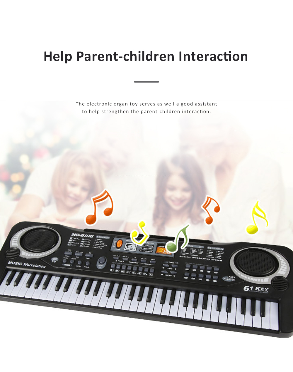 Multifunctional Electronic Organ Toy for Baby's Early Education Simulated 61-key Musical Instrument Toy Children Electronic Piano Organ 2