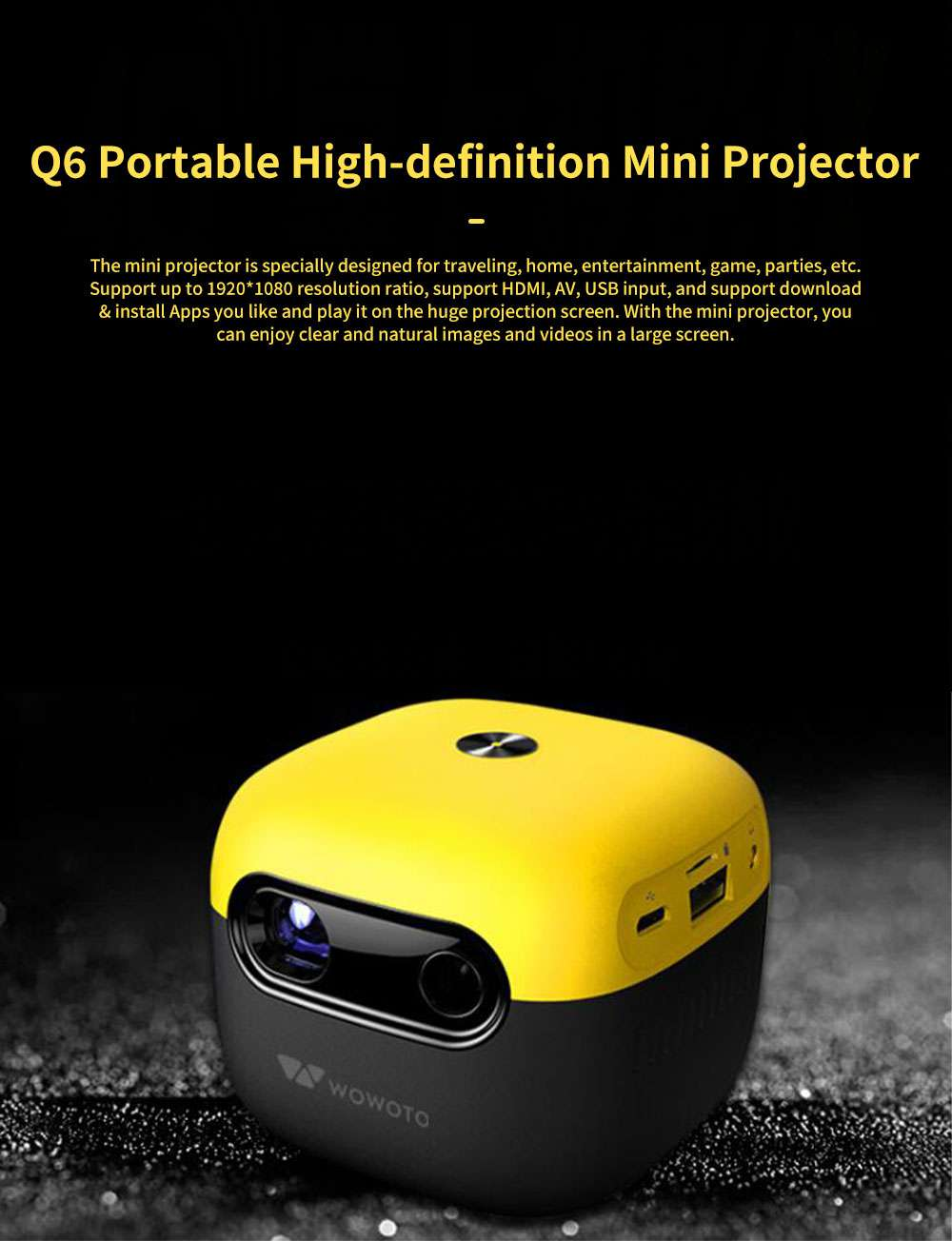 Q6 Mini Projector Portable HD 1080P Small Multimedia Projector for Home Theater Entertainment Games Parties Movie Projectors Support Laptop PC Smart Phone 0