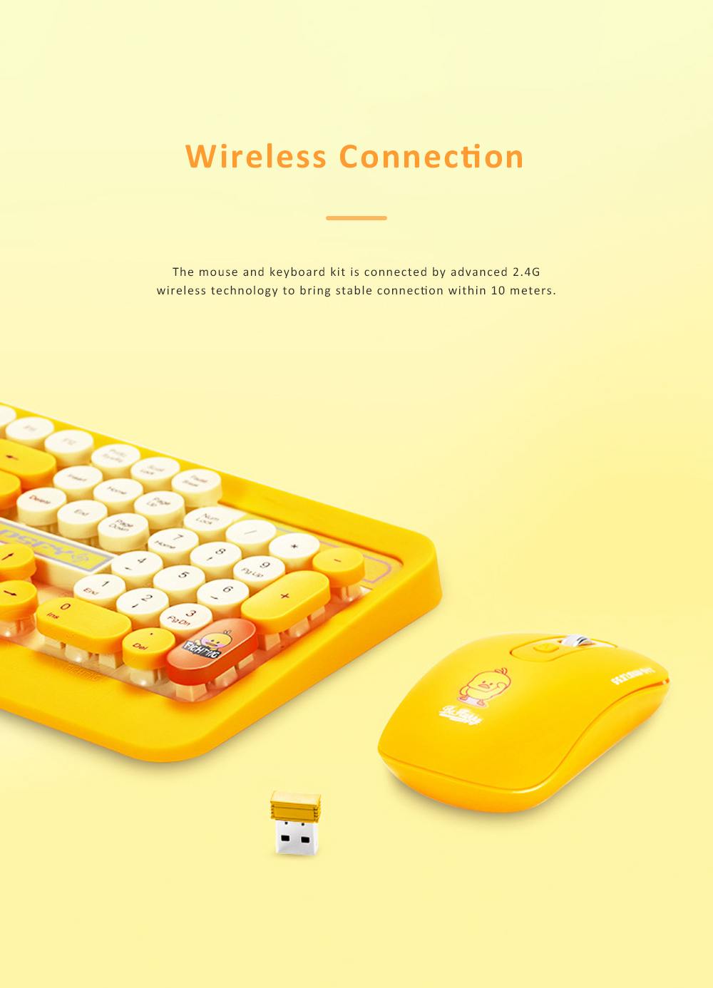 Wireless Keyboard Mouse Kit Waterproof Keyboard and Mute Mouse Compatible for Windows Tablet Computer MAC IOS Android and More 7