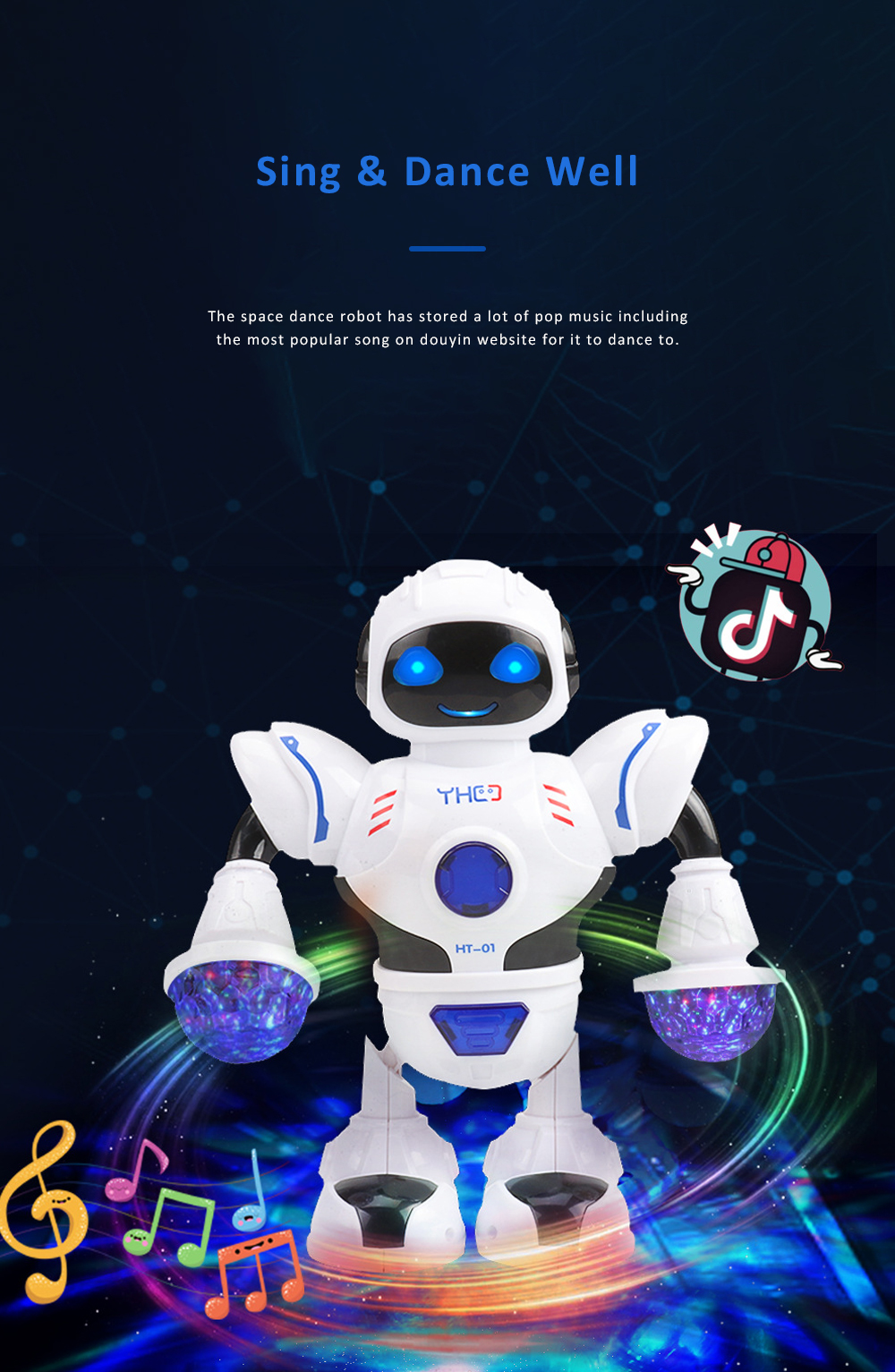 Space Dance Robot for Kids' Gift With LED Light Dancing Robot Kids' Electronic Toy Battery-operated Dance Robot 2