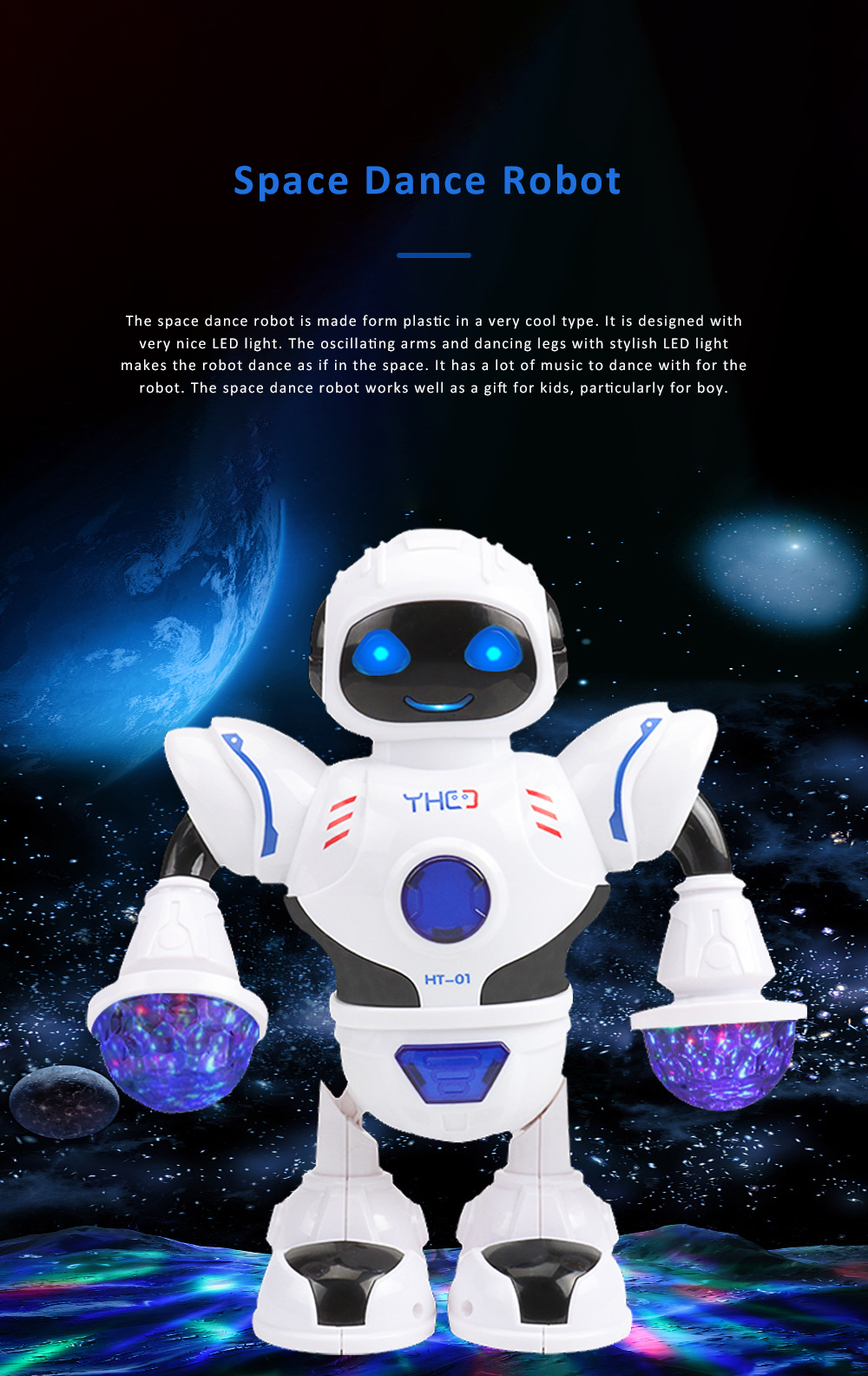 Space Dance Robot for Kids' Gift With LED Light Dancing Robot Kids' Electronic Toy Battery-operated Dance Robot 0