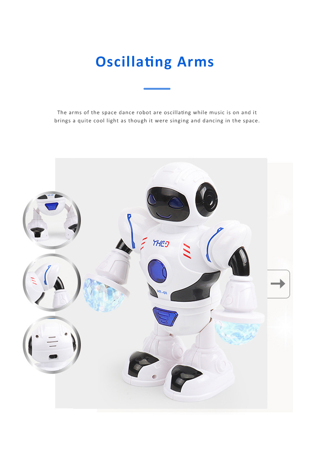 Space Dance Robot for Kids' Gift With LED Light Dancing Robot Kids' Electronic Toy Battery-operated Dance Robot 5