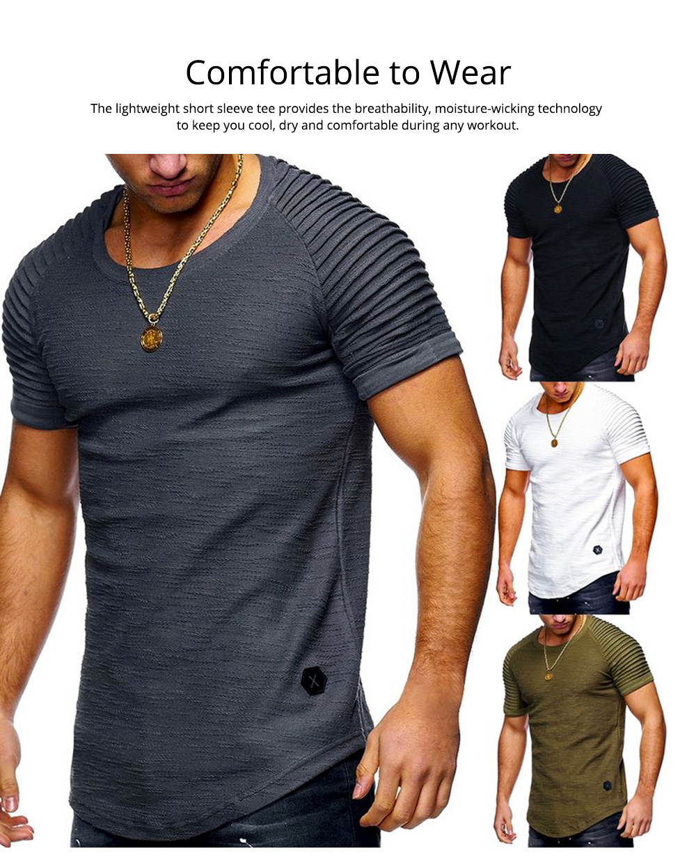 Men's Pure Color T-shirt Wrinkled Short Sleeve Shirt Fashion Stretch Sports Quick-dry T-Shirt 2