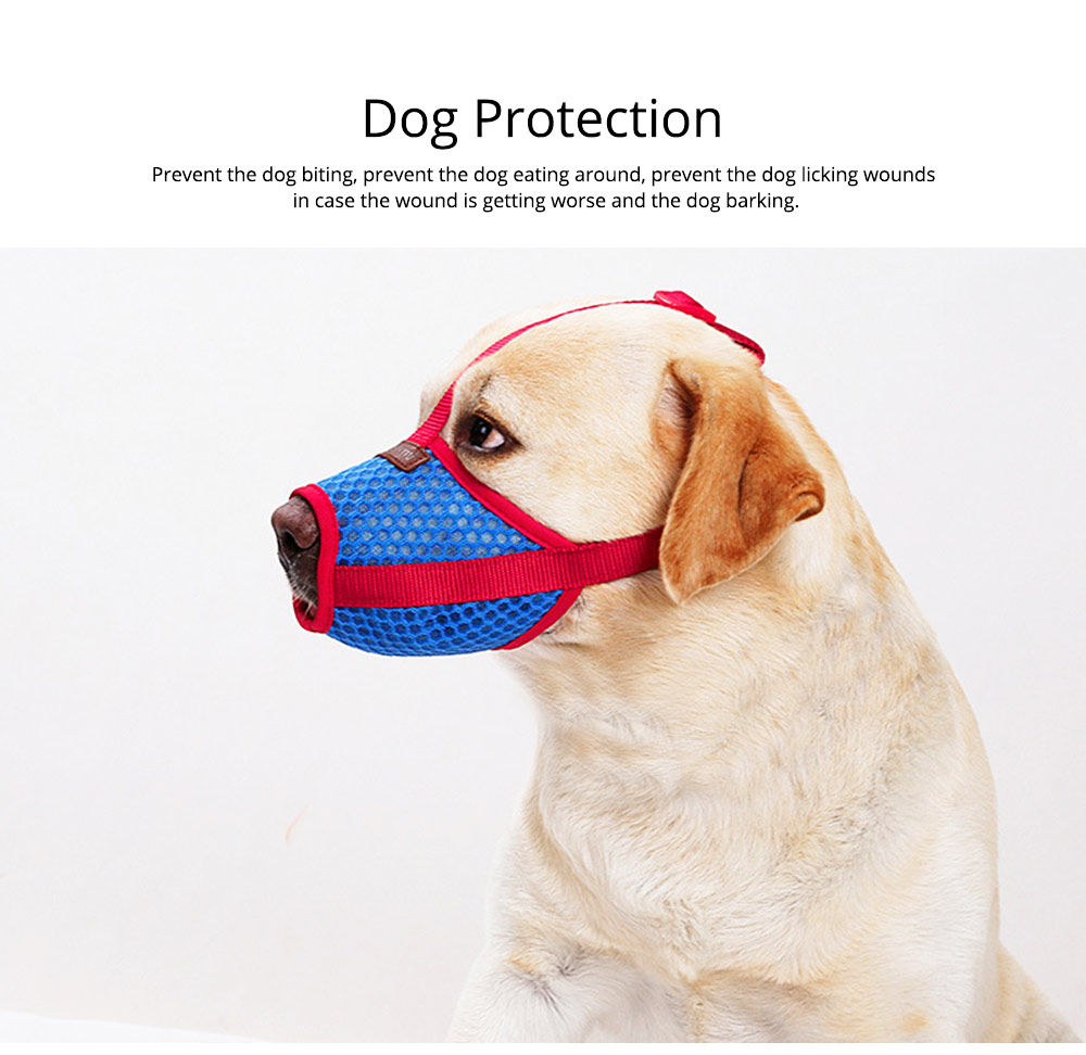 Dog Bark-stop Mask Waterproof Nylon Mouth Cover Muzzles, Pet Grooming Tools for Preventing Scratches and Biting Chewing 5
