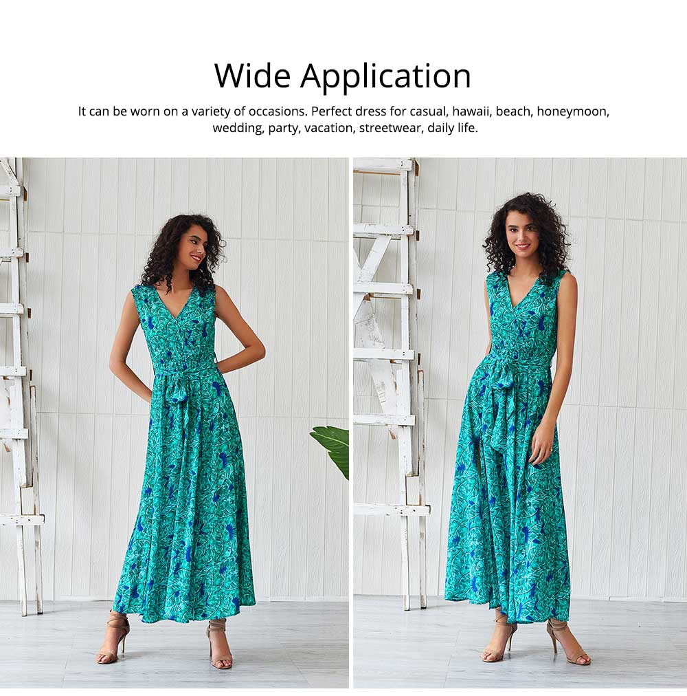Women Floral Printed Maxi Dress, Deep V-neck Long Dresses for Ladies, Beach Dresses Bohemian Side Split Dresses 5