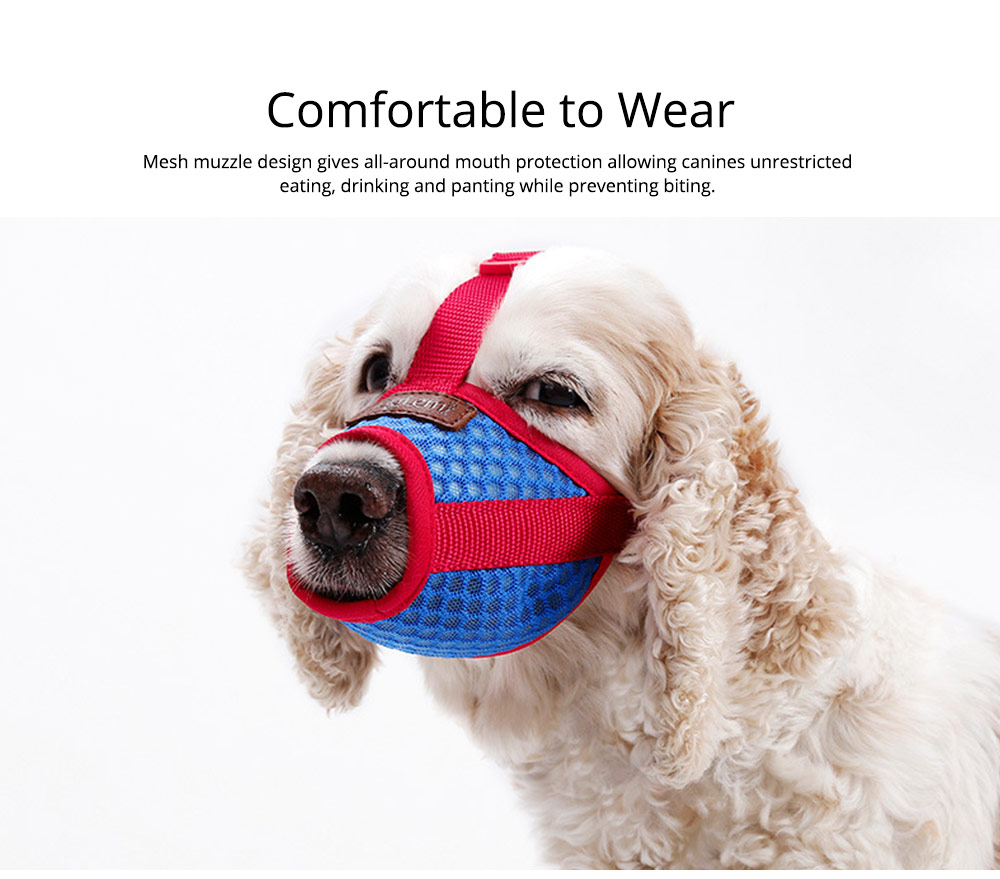 Dog Bark-stop Mask Waterproof Nylon Mouth Cover Muzzles, Pet Grooming Tools for Preventing Scratches and Biting Chewing 4