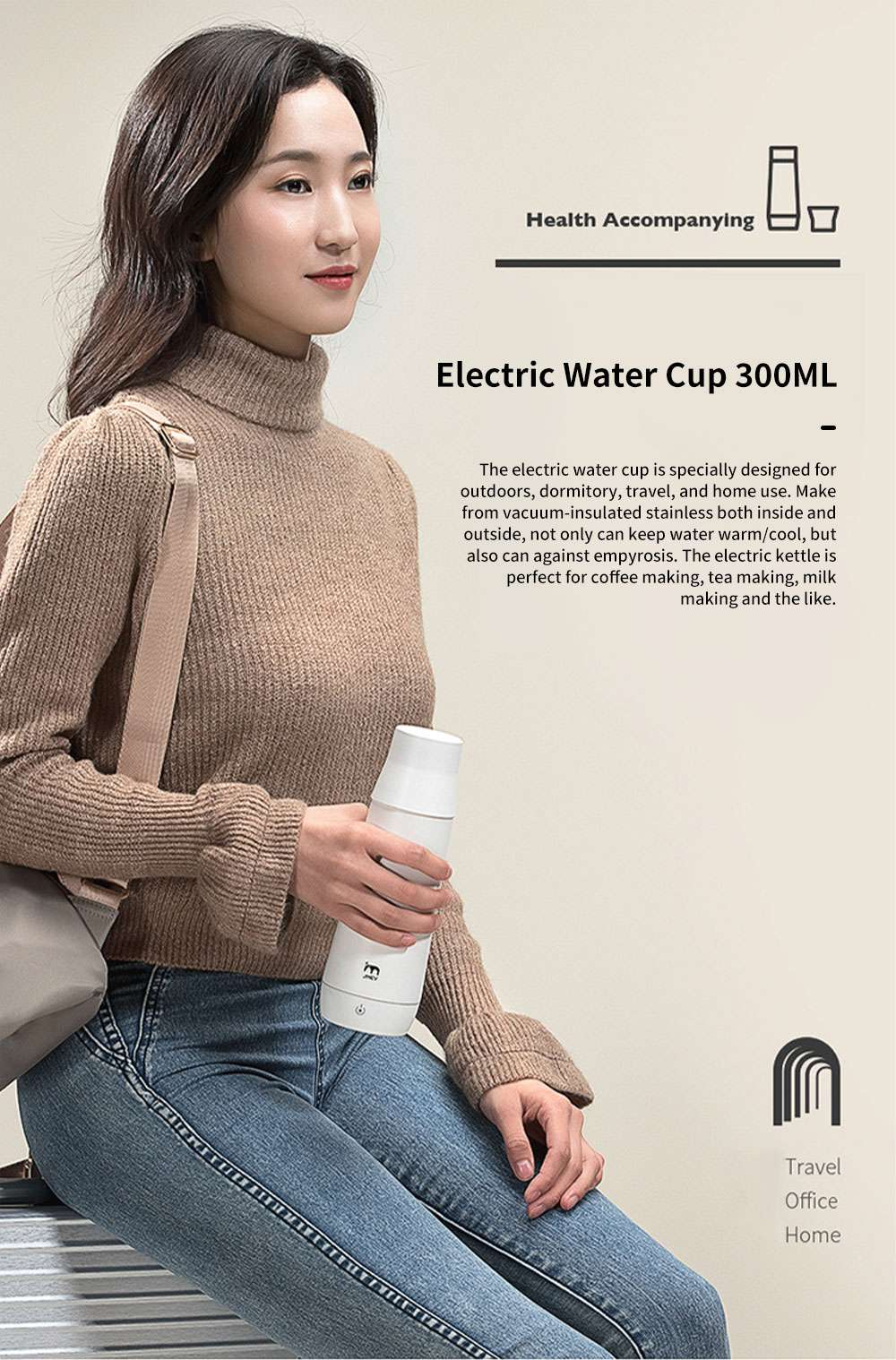 Portable Thermostatic Electric Water Cup 300ML Mini Folding Vacuum Cup for Dormitory Travel Home Use Warm Electric Kettle 0