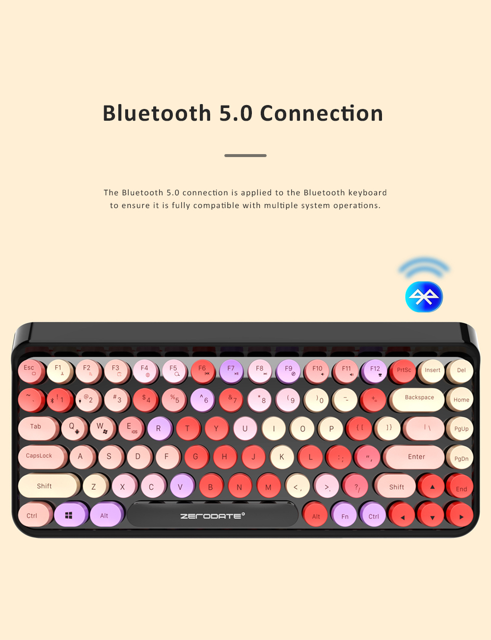Retro Colorful Punk Bluetooth Keyboard for Office Household Use Waterproof and Mute Keyboard Compatible for Windows, iOS, Android 2