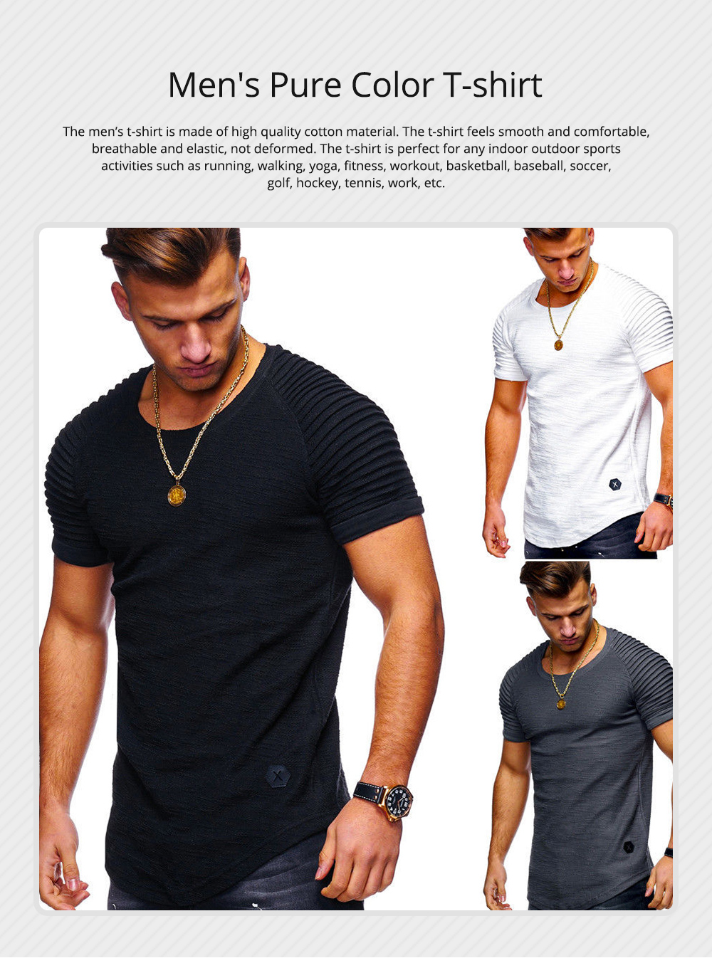 Men's Pure Color T-shirt Wrinkled Short Sleeve Shirt Fashion Stretch Sports Quick-dry T-Shirt 0