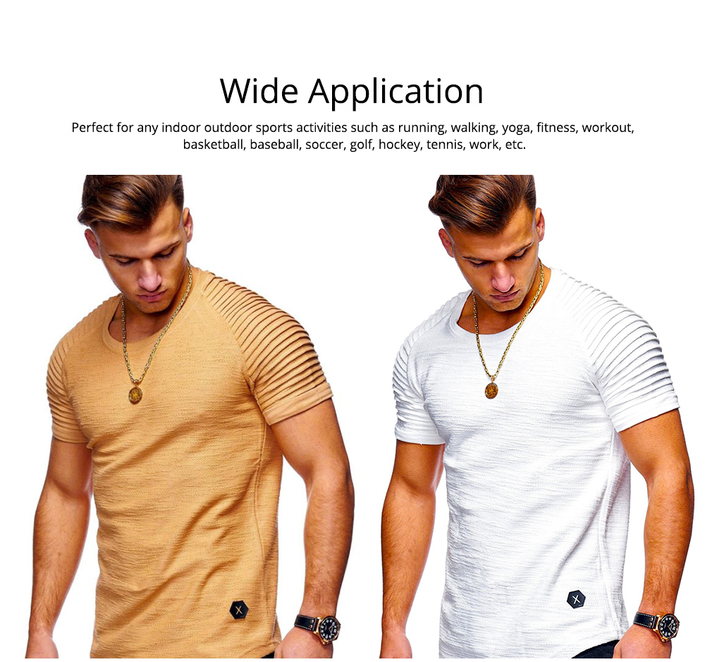 Men's Pure Color T-shirt Wrinkled Short Sleeve Shirt Fashion Stretch Sports Quick-dry T-Shirt 5