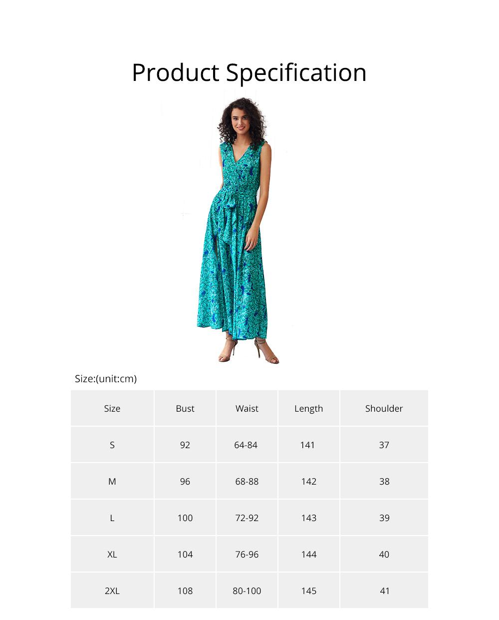 Women Floral Printed Maxi Dress, Deep V-neck Long Dresses for Ladies, Beach Dresses Bohemian Side Split Dresses 6