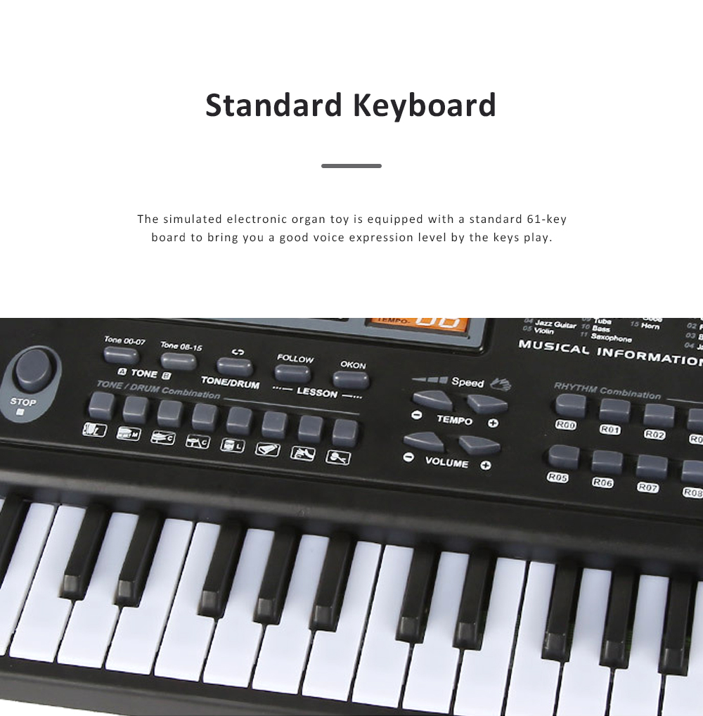 Multifunctional Electronic Organ Toy for Baby's Early Education Simulated 61-key Musical Instrument Toy Children Electronic Piano Organ 8