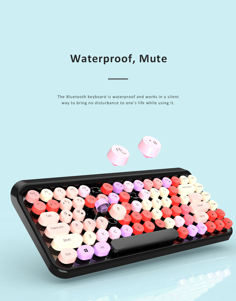 Retro Colorful Punk Bluetooth Keyboard for Office Household Use Waterproof and Mute Keyboard Compatible for Windows, iOS, Android 6