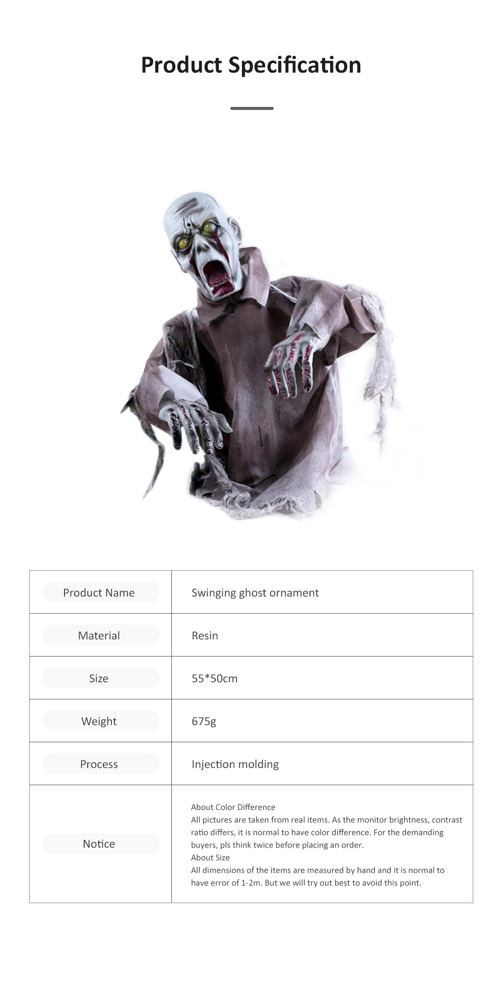 New Style Swinging Ghost Ornament for Room Escape Decoration Large Size Zombie Toy Electronic Horrible Standing Dancing Ghost Zombie Props 6
