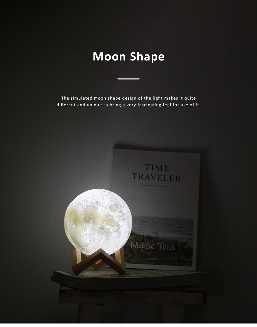 Three-dimensional Printing Moon Light for Living Room Hotel Lobby Green and Nontoxic Night Lamp Touch Control Light 8