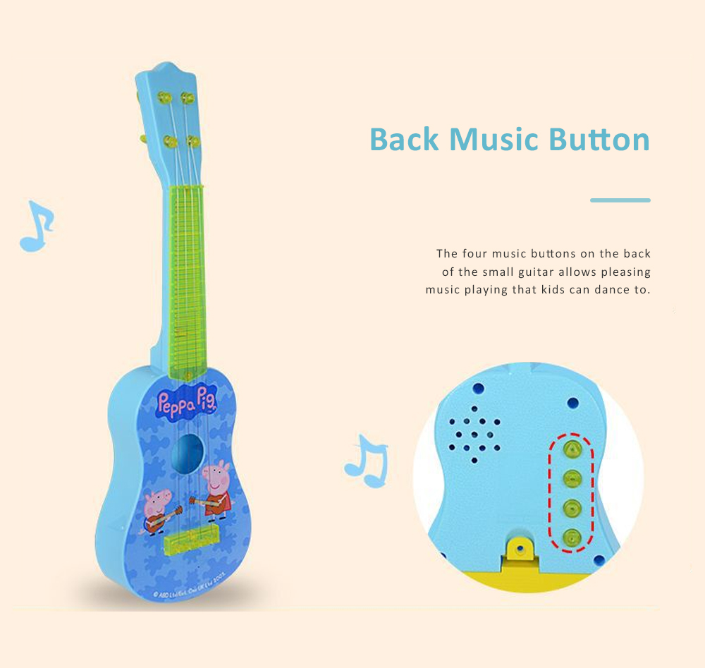 Simulated Mini Guitar Toy for Kids' Gift Choice Peppa Pig Pattern Guitar Toy Small Size Musical Instrument Plaything 5
