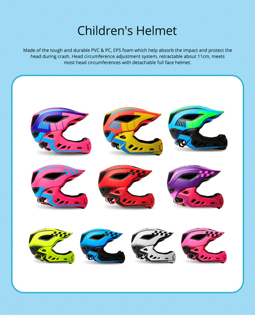 Children's Helmet for Roller Skating, Cycling, Detachable Full Face Helmet Airflow Bicycle Helmets for Kids 0