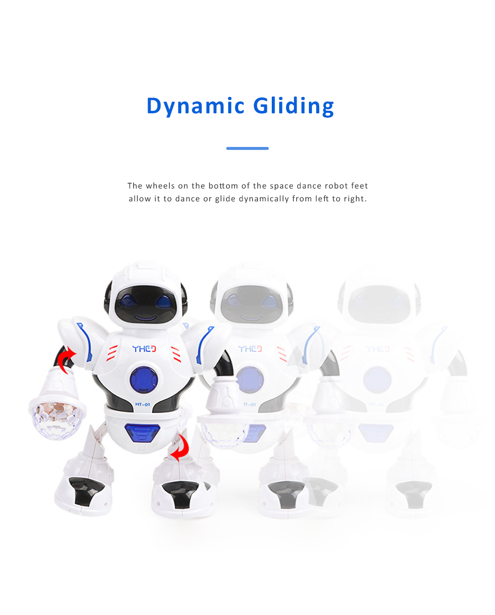 Space Dance Robot for Kids' Gift With LED Light Dancing Robot Kids' Electronic Toy Battery-operated Dance Robot 3