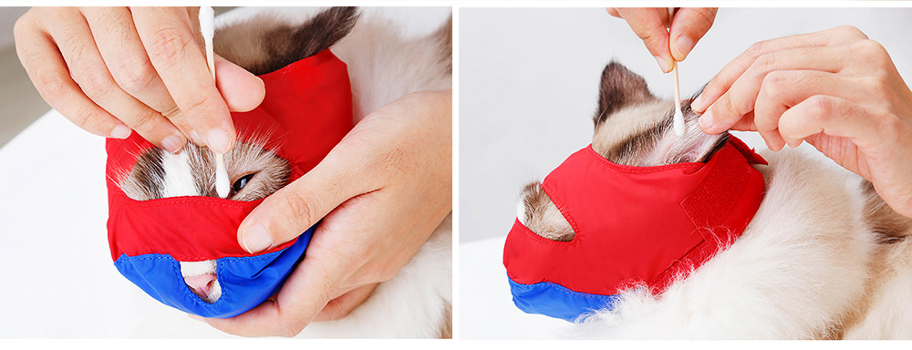 Waterproof Cat Muzzles Non-sticky Nylon Face Mask Pet Grooming Tools for Preventing Scratches Anti-biting 5