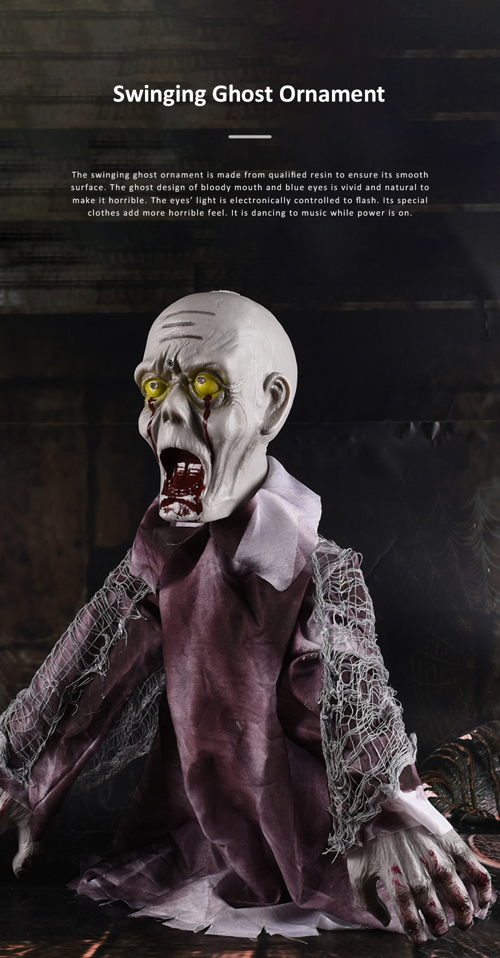 New Style Swinging Ghost Ornament for Room Escape Decoration Large Size Zombie Toy Electronic Horrible Standing Dancing Ghost Zombie Props 0