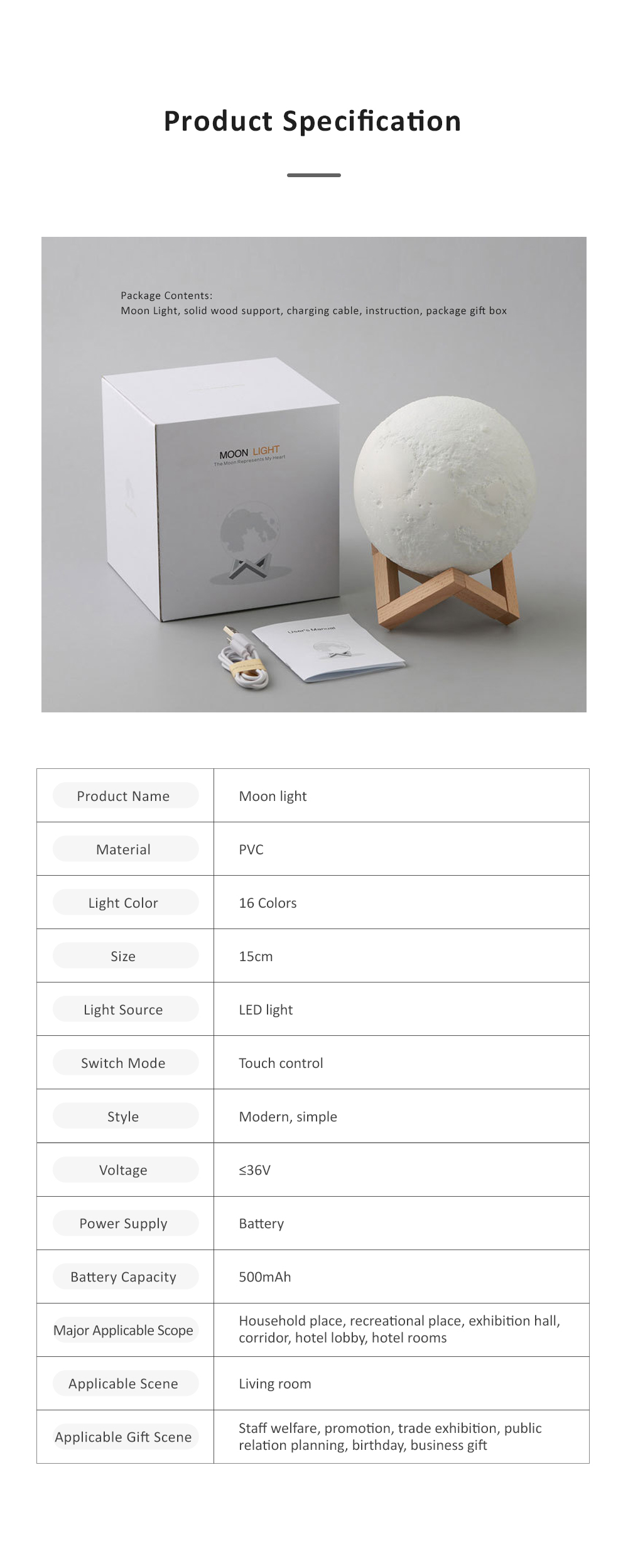 Three-dimensional Printing Moon Light for Living Room Hotel Lobby Green and Nontoxic Night Lamp Touch Control Light 9