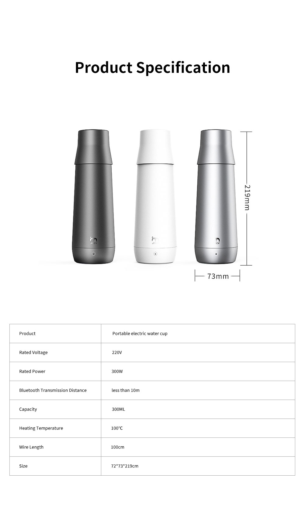 Portable Thermostatic Electric Water Cup 300ML Mini Folding Vacuum Cup for Dormitory Travel Home Use Warm Electric Kettle 7