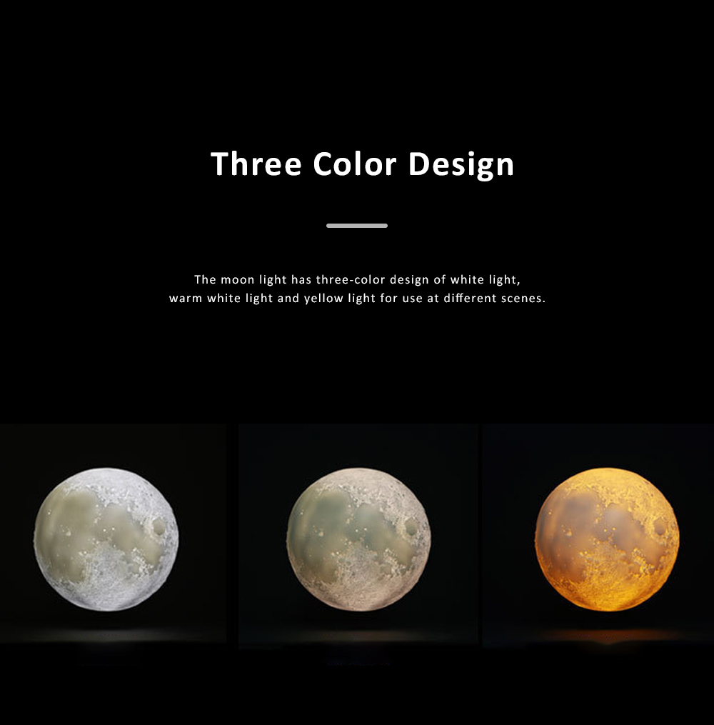 Three-dimensional Printing Moon Light for Living Room Hotel Lobby Green and Nontoxic Night Lamp Touch Control Light 4