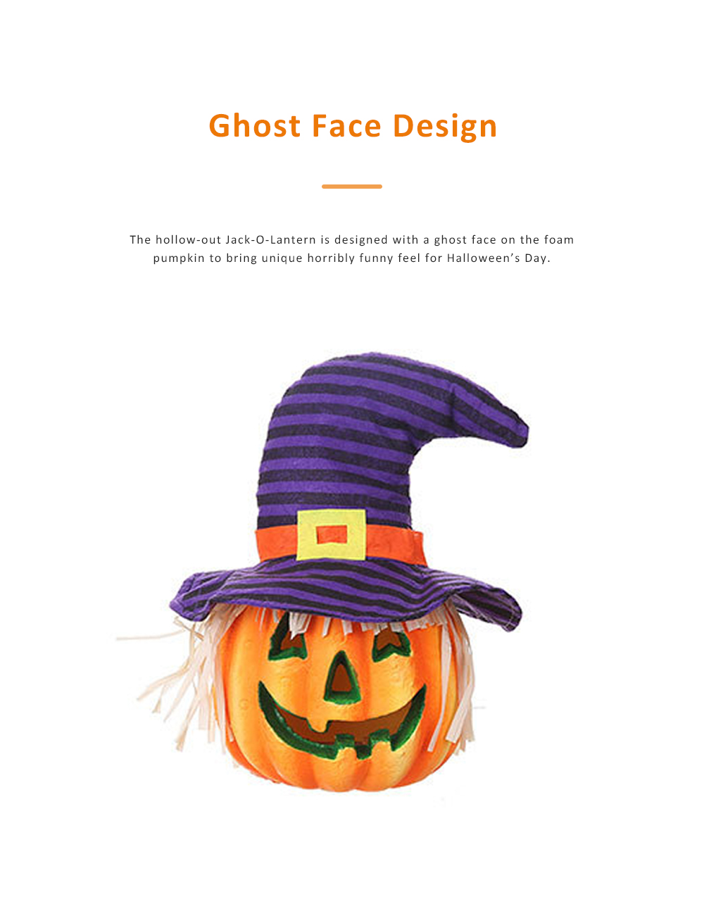 Hollow-out Jack-O-Lantern for Halloween Haunted House Foam-made Battery Driven Pumpkin Light Smiling Face Pumpkin Lamp 1