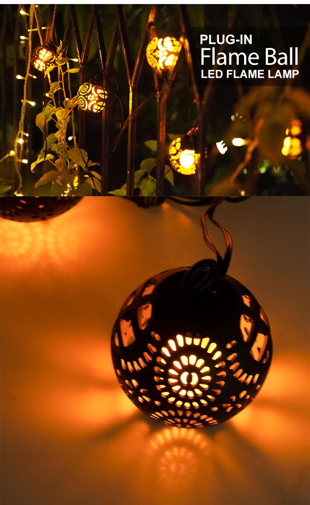 8PCS 3 Meters LED Pumpkin Flame Lamp Fancy Halloween Lights Delicate Hollow Flame Light Sling Infrared Control Pumpkin Light Christmas Decoration Ornament Waterproof 4