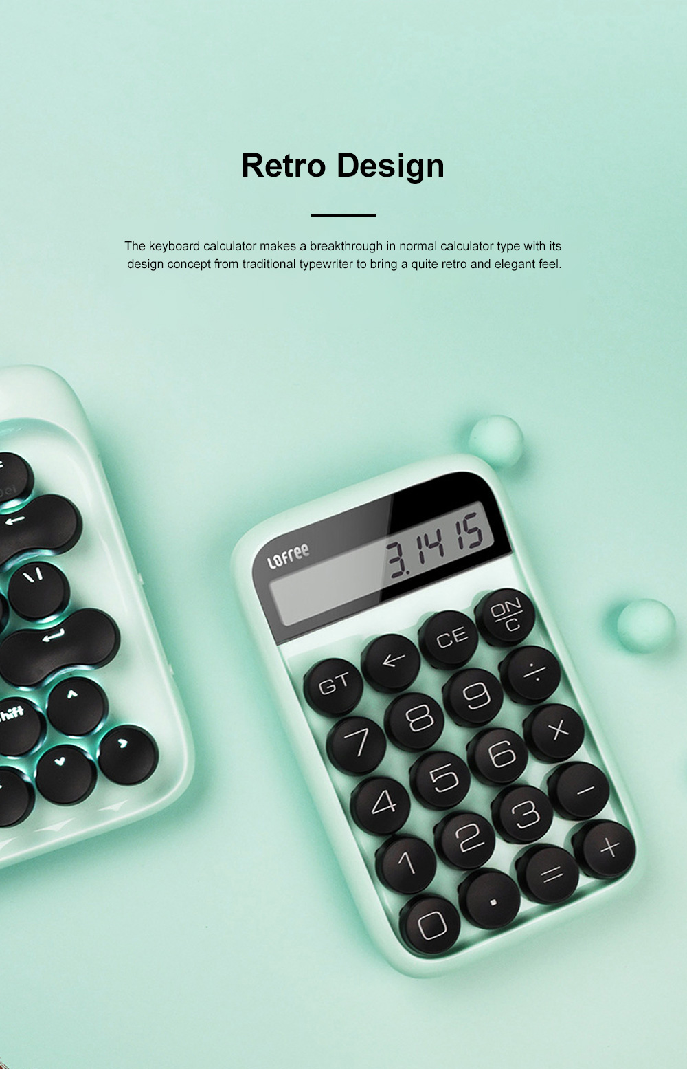 Retro Style Keyboard Calculator for Office Use Mechanical Dot Keycap Key Calculator Stylish Durable Calculator 2
