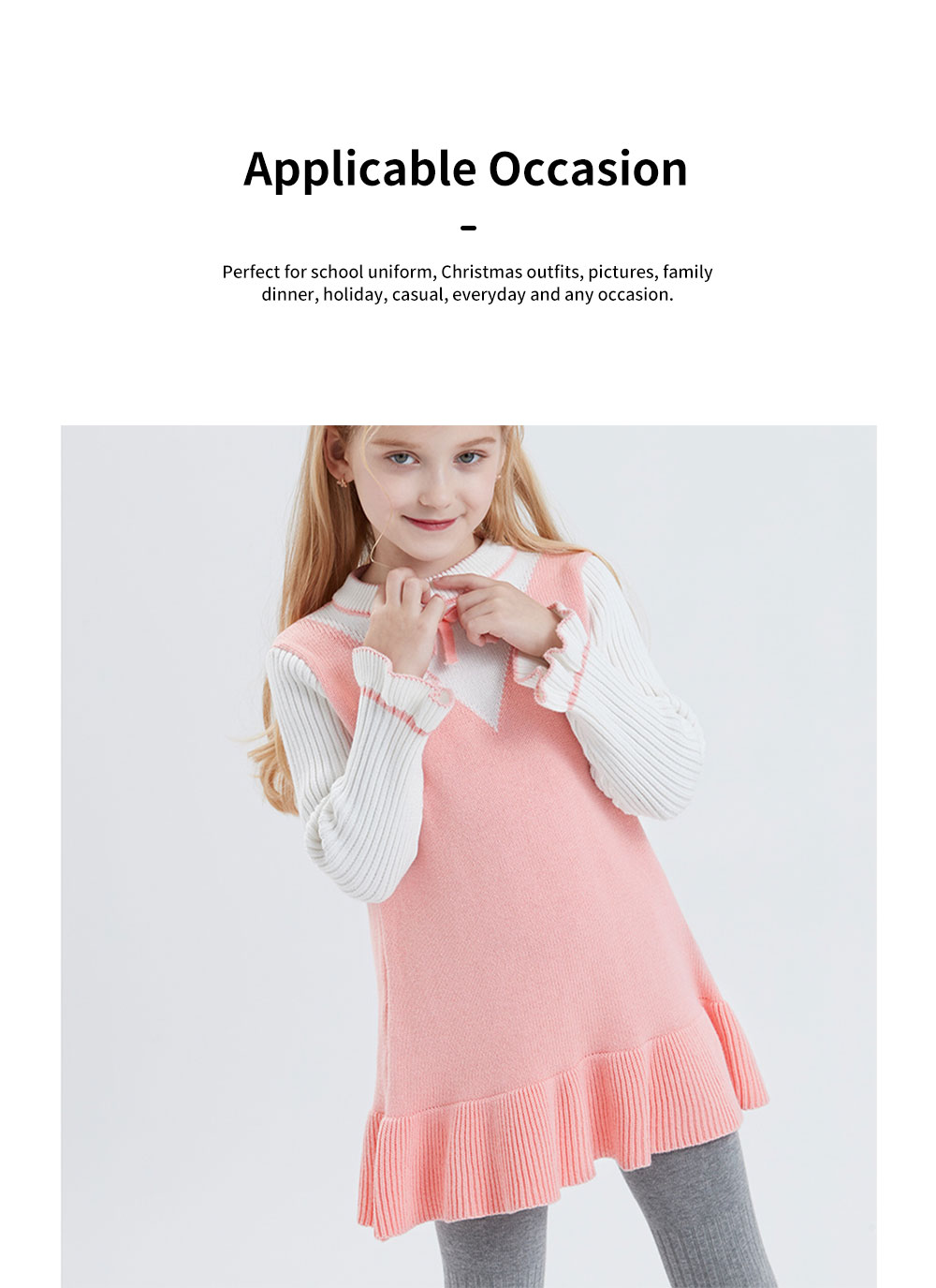 Purified Cotton Girls Sweater Dress Long Sleeve One-piece Warm No-burr Dress for Winter Autumn Princess Dress 3
