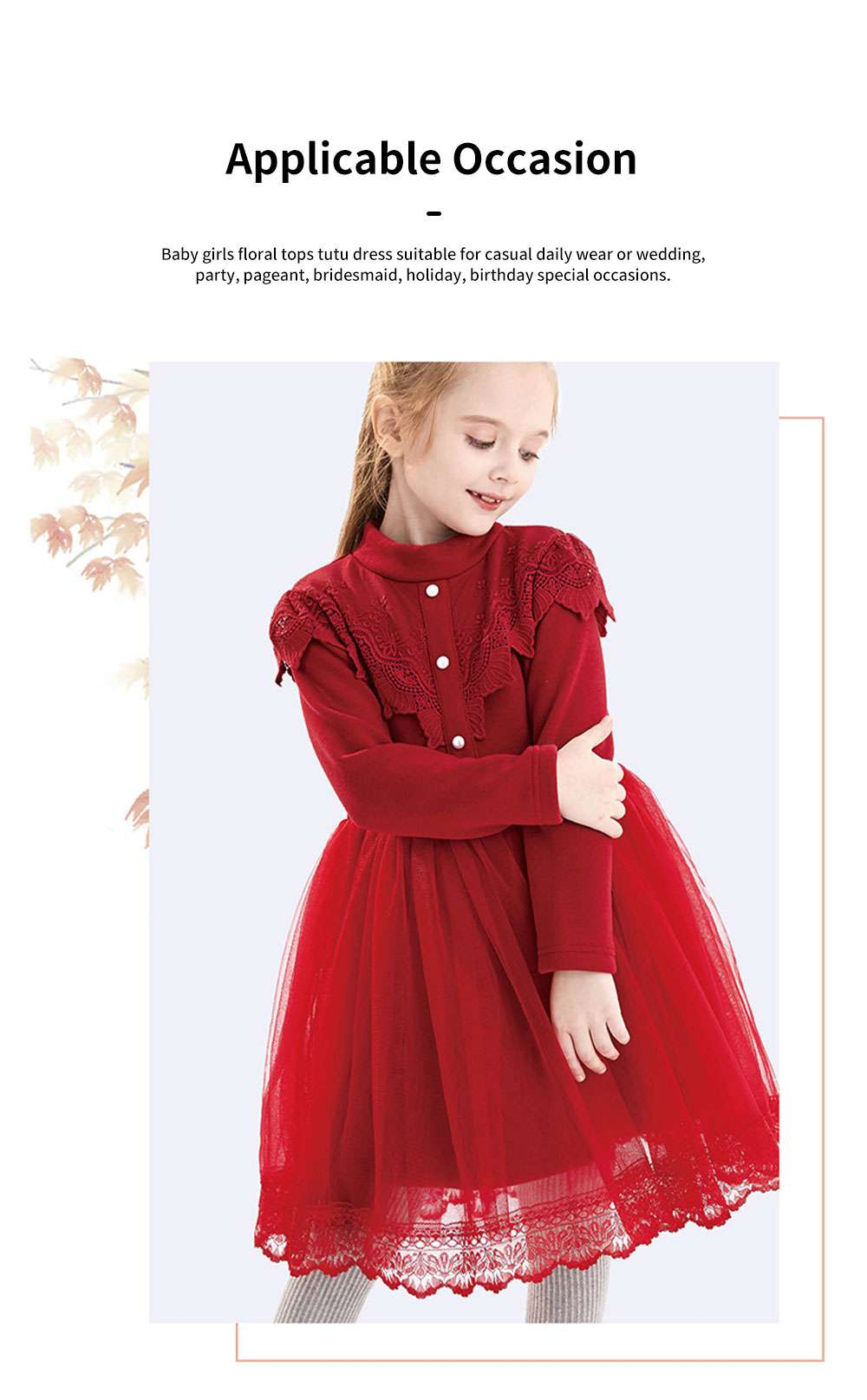 Warm Girl's One-piece Dress for Winter Autumn Fashion Grenadine Lace Princess Skirt with Buttons Pretty Long Sleeve Girls Dress 5