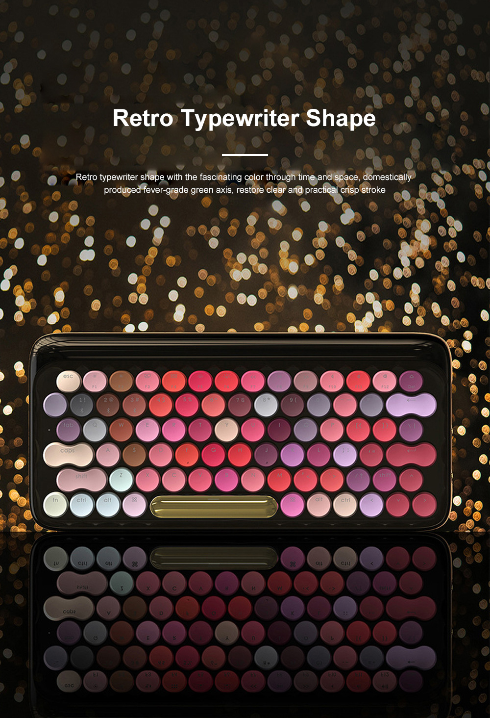 LOFREE Fashion Design Lipstick Colorful Dot Wireless Keyboard Cute Wireless Bluetooth Mechanical Keyboard 3