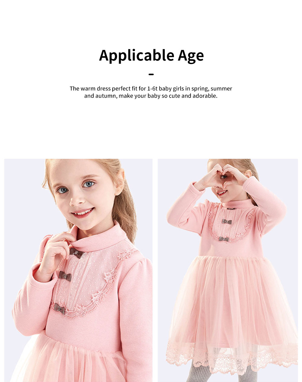 Warm Girl's One-piece Dress for Winter Autumn Fashion Grenadine Lace Princess Skirt with Buttons Pretty Long Sleeve Girls Dress 6