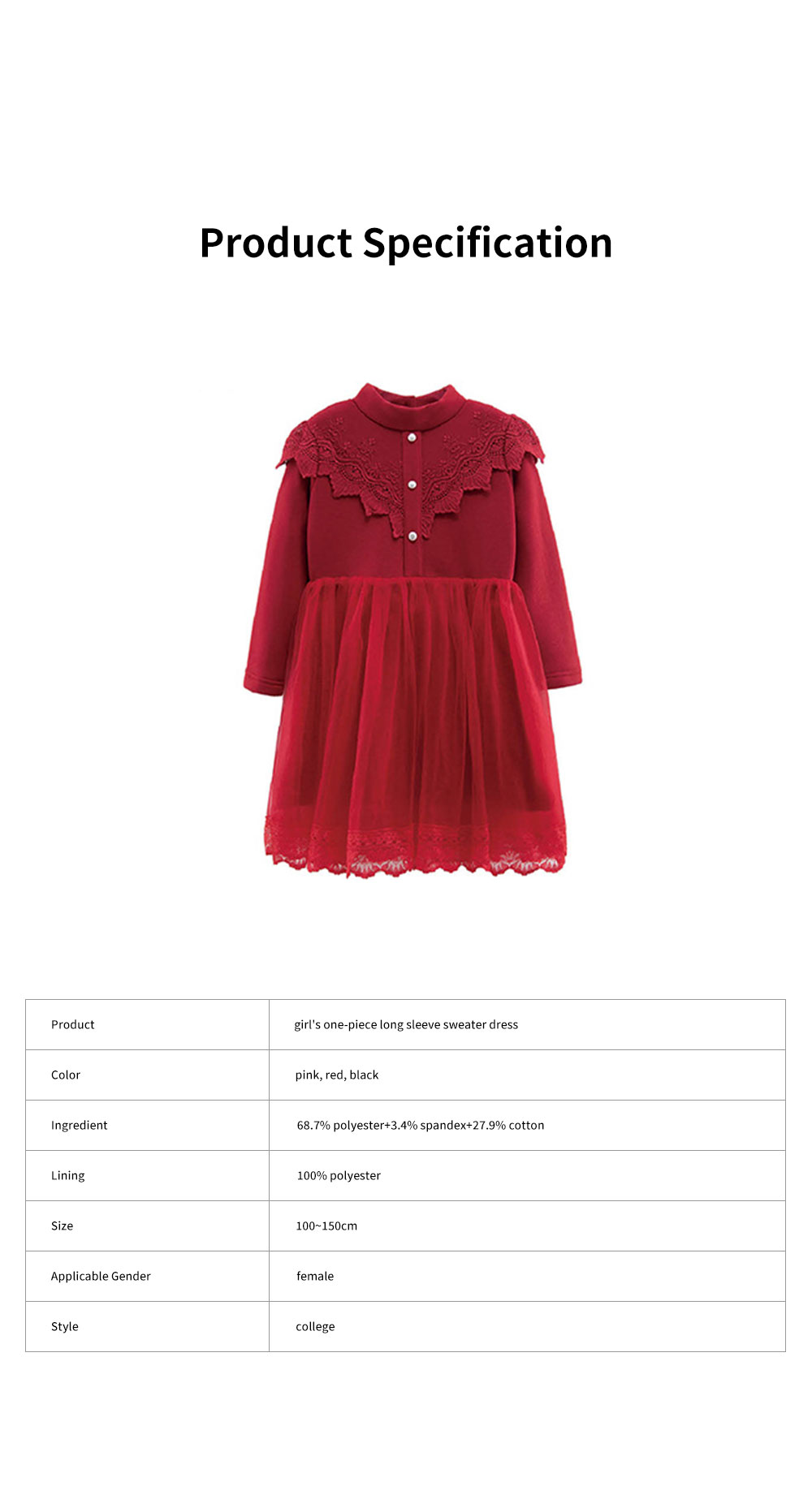 Warm Girl's One-piece Dress for Winter Autumn Fashion Grenadine Lace Princess Skirt with Buttons Pretty Long Sleeve Girls Dress 7