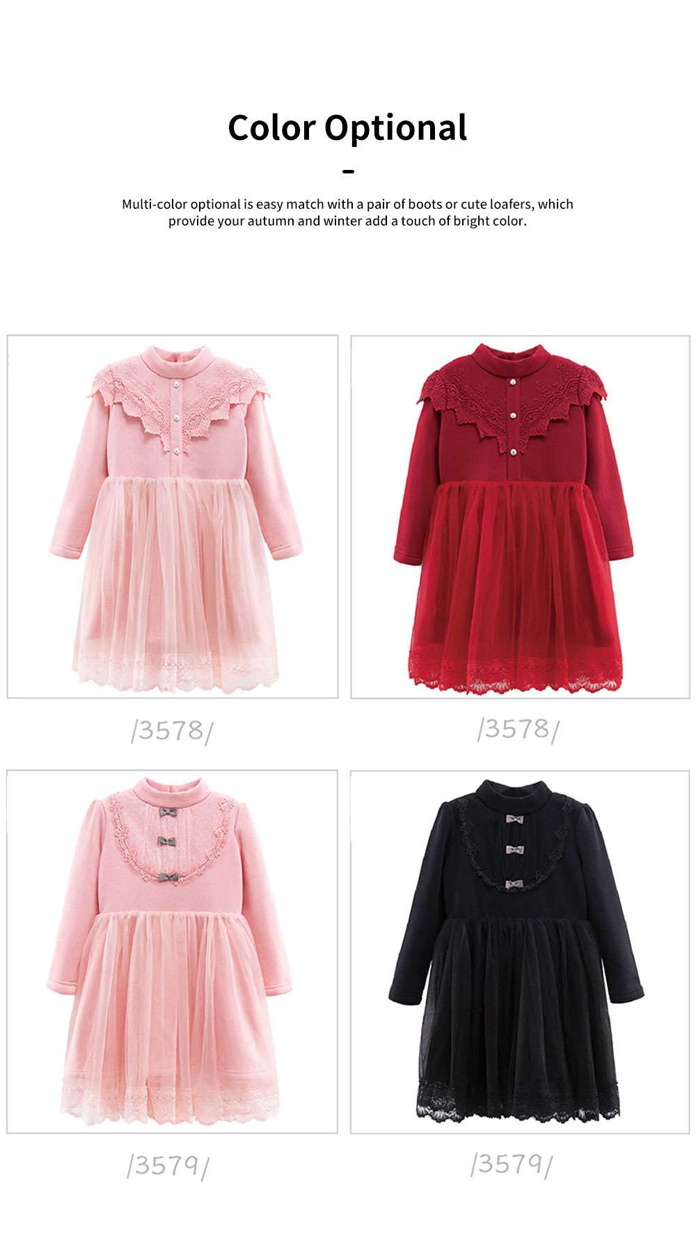Warm Girl's One-piece Dress for Winter Autumn Fashion Grenadine Lace Princess Skirt with Buttons Pretty Long Sleeve Girls Dress 1