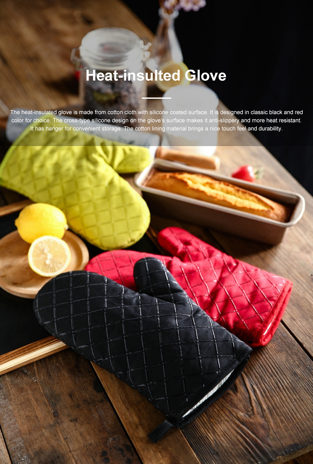 Heat Resistant Baking Glove for Oven Microwave Oven Thickened and Heat-insulated Glove Cotton Cloth Anti-scald Glove 0