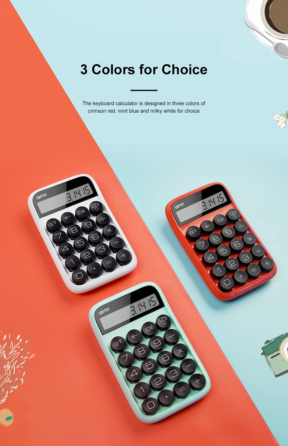 Retro Style Keyboard Calculator for Office Use Mechanical Dot Keycap Key Calculator Stylish Durable Calculator 5