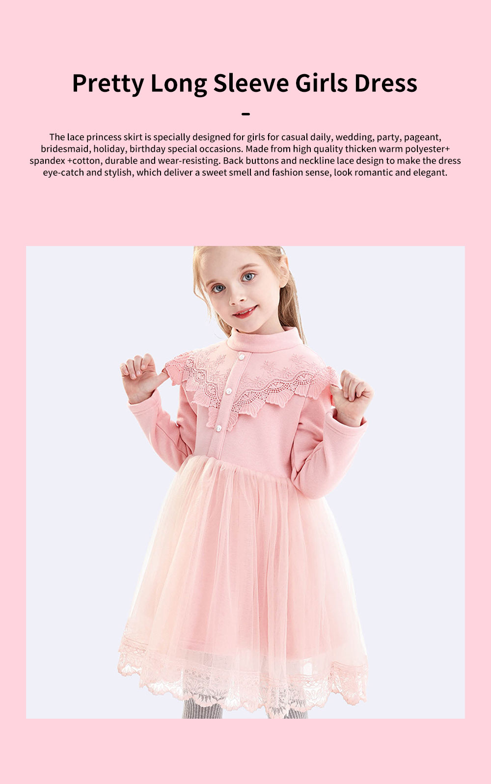 Warm Girl's One-piece Dress for Winter Autumn Fashion Grenadine Lace Princess Skirt with Buttons Pretty Long Sleeve Girls Dress 0