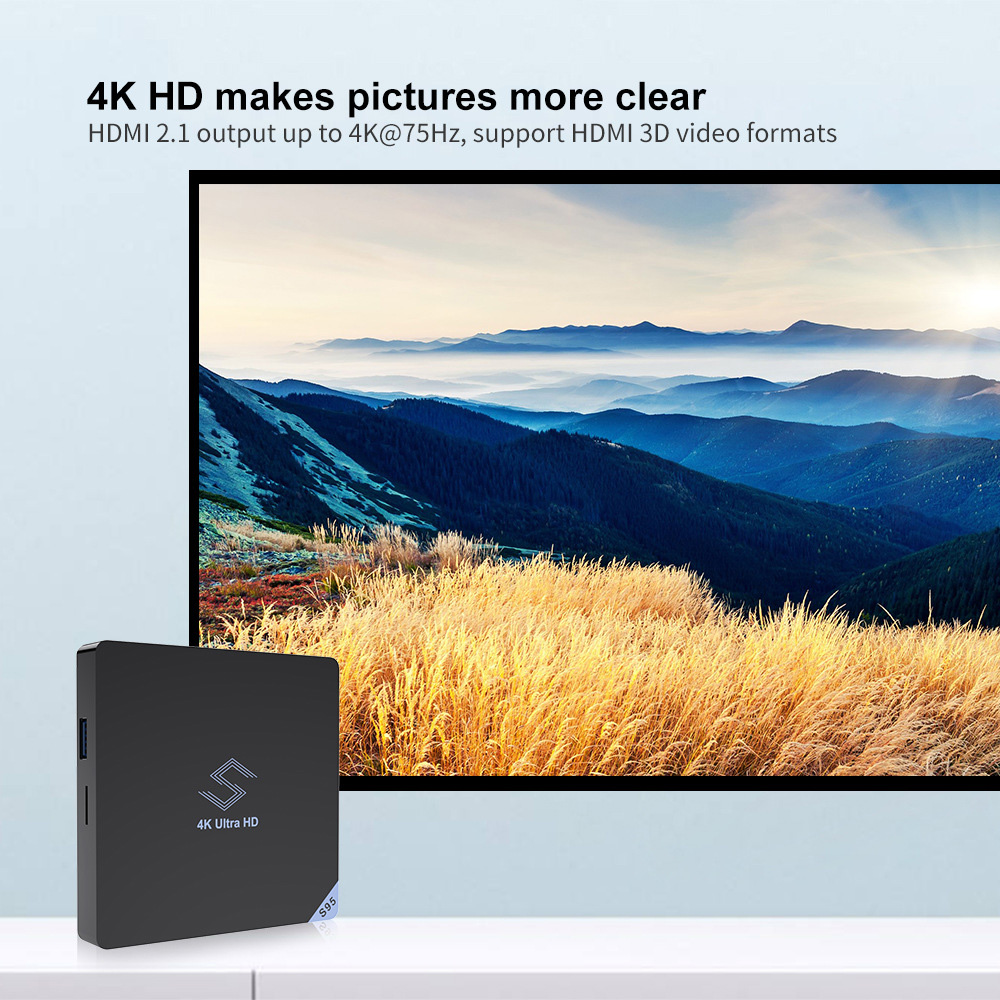 Beelink S95 Smart TV Box S905X2 Quad-core ARM Cortex-A53 Processor Android 8.1 4K TV Box with Remote Control and Dual Band WiFi 4G 32G 3