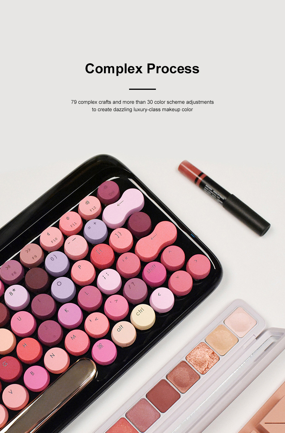 LOFREE Fashion Design Lipstick Colorful Dot Wireless Keyboard Cute Wireless Bluetooth Mechanical Keyboard 4