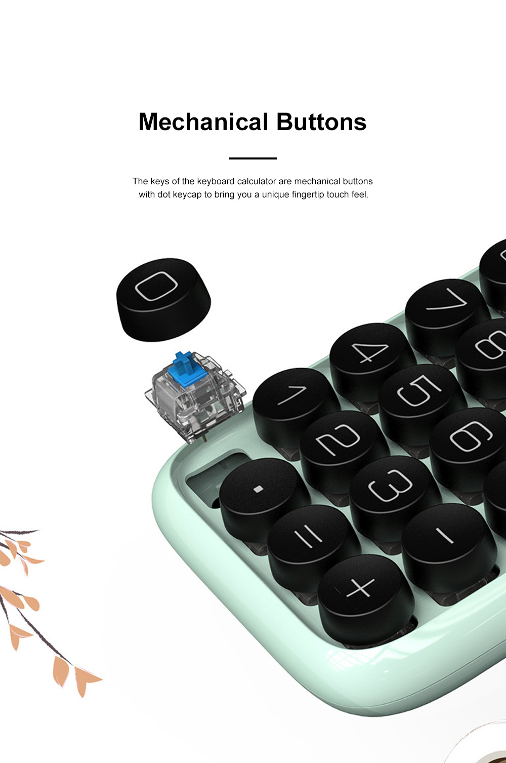 Retro Style Keyboard Calculator for Office Use Mechanical Dot Keycap Key Calculator Stylish Durable Calculator 1