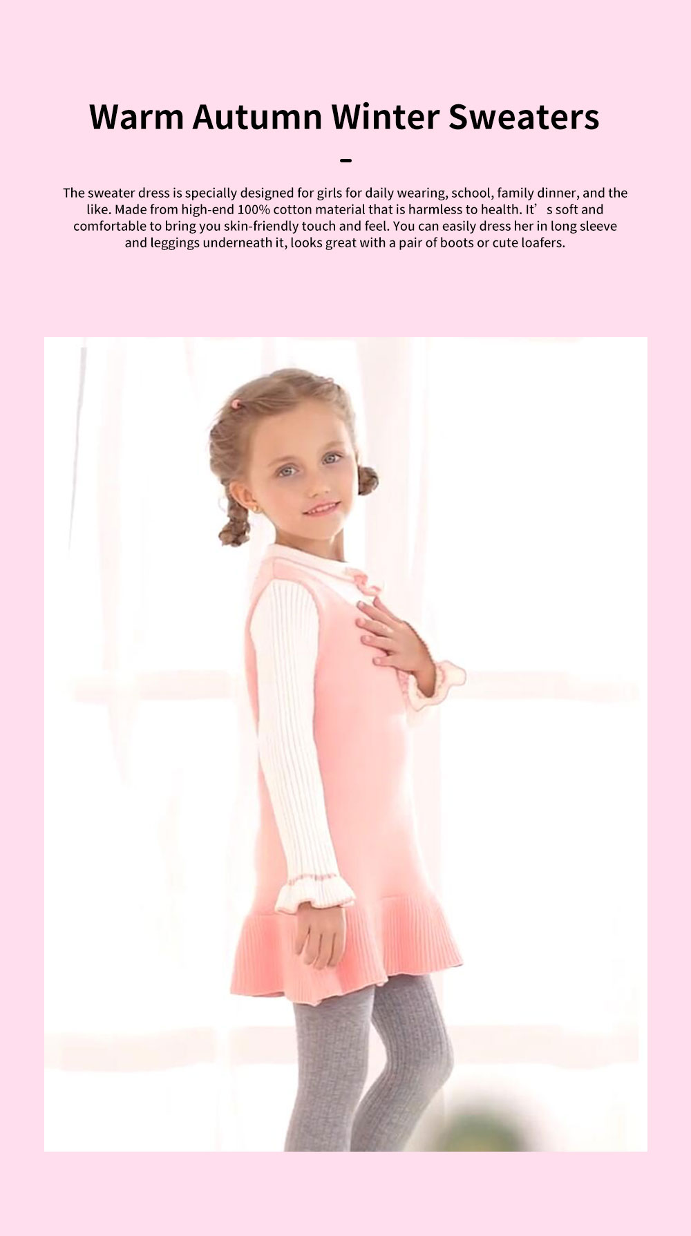 Purified Cotton Girls Sweater Dress Long Sleeve One-piece Warm No-burr Dress for Winter Autumn Princess Dress 0