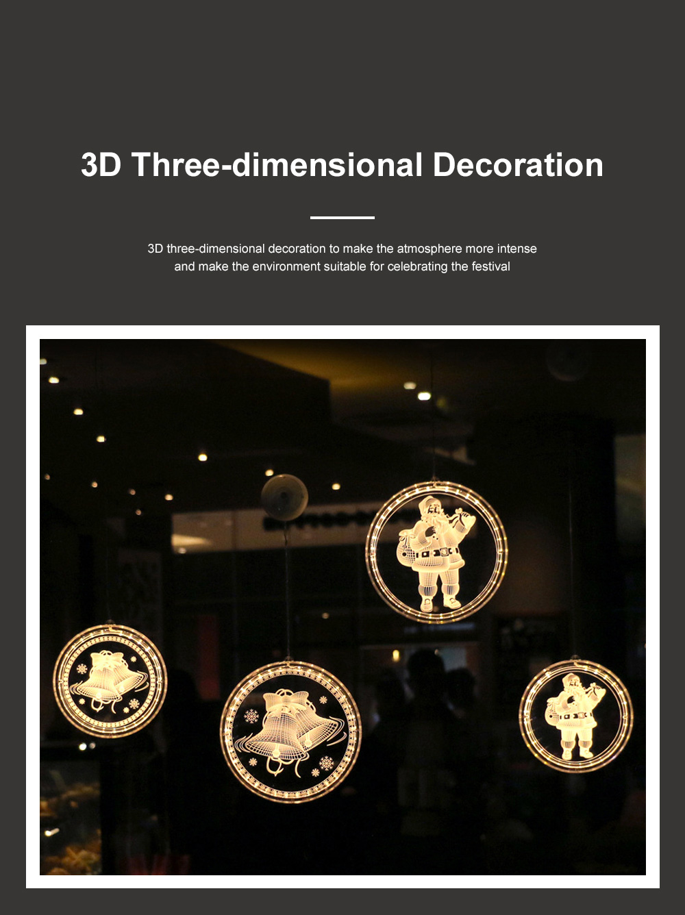 2019 Hot LED 3D Christmas Curtain Lights USB Window Curtain String Light Indoor Lights Bedroom Hotel Decoration 4