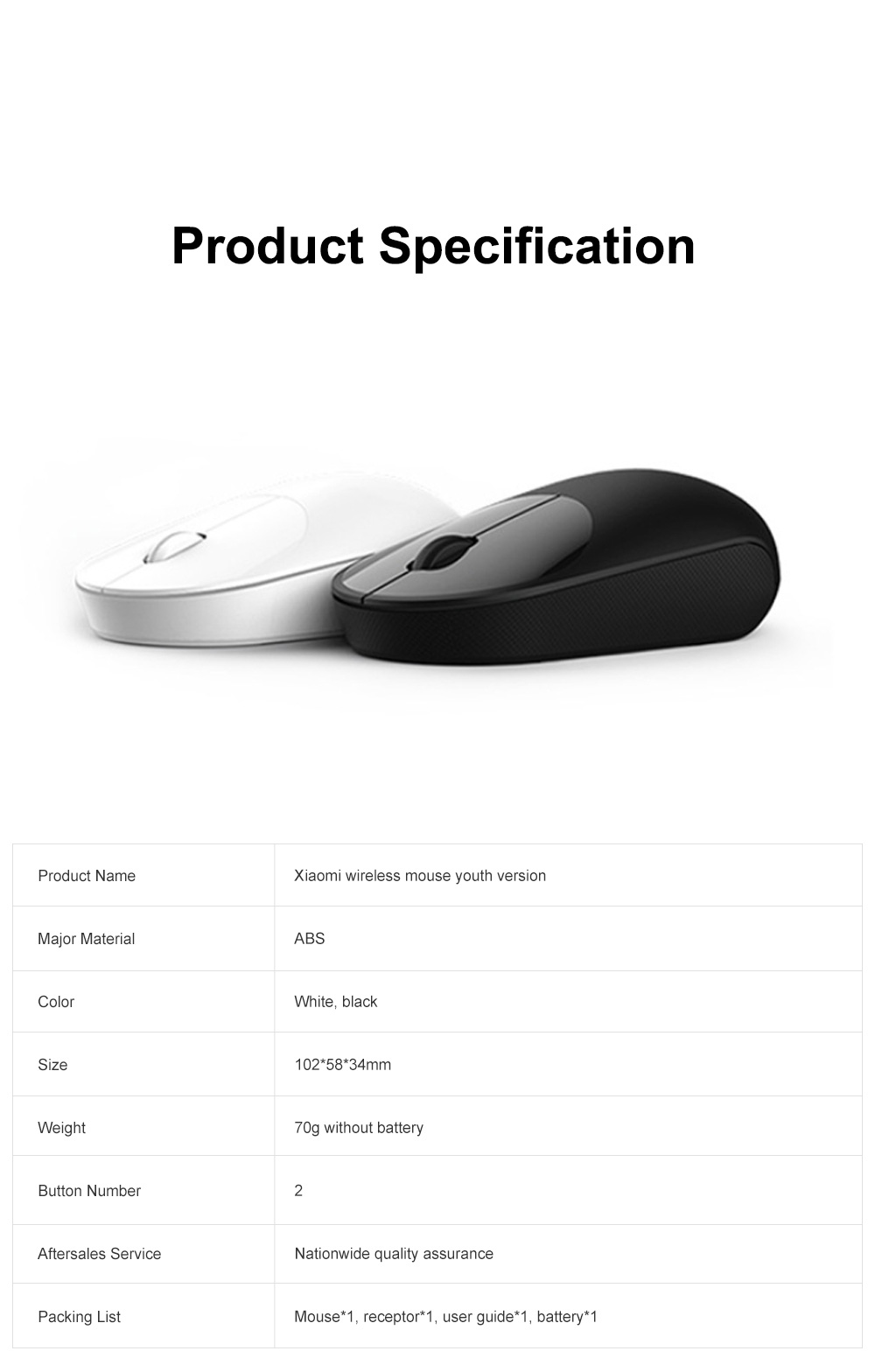 Xiaomi Wireless Mouse Youth Version for Home Office High Transmission Dual Button Laptop Mouse Accurate Positioning Mouse 6