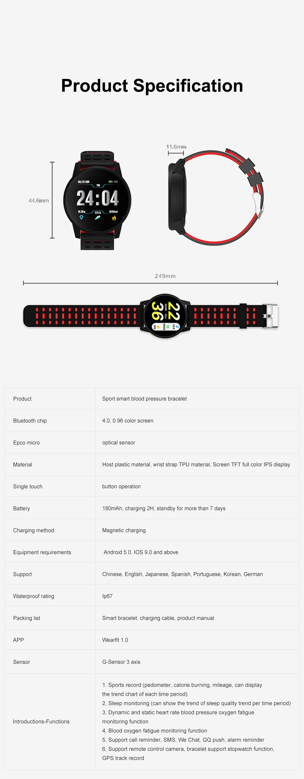 2019 Hot Smart Watch Support Heart Rate Monitor Blood Pressure Bracelet for Ios Android Phone Sport Smart Watch 9